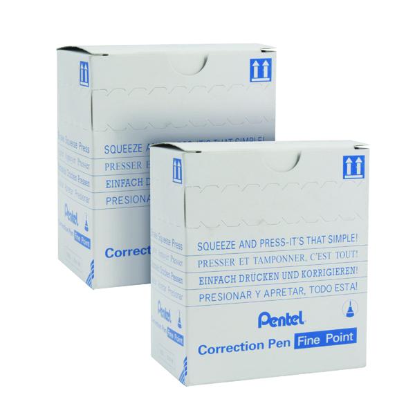 Pentel Micro Correct Fluid Pen (12 Pack) 2 for 1 PE811472
