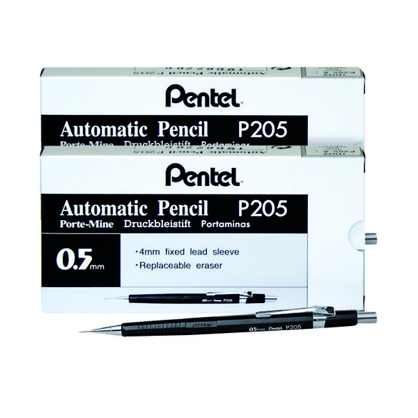 0.5mm Pentel P205 Auto Pencil 0.5mm (12 Pack) BOGOF