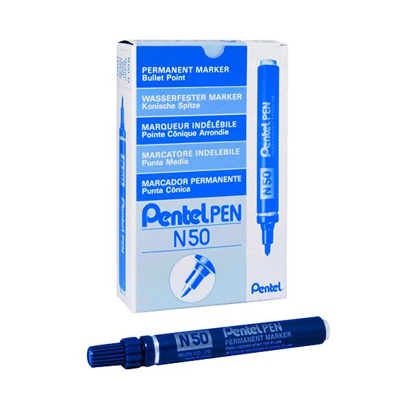 Pentel N50 Permanent Bullet Marker Broad Blue (12 Pack) N50-C