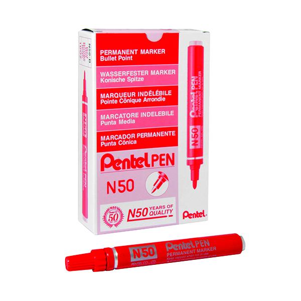 Pentel N50 Permanent Bullet Marker Broad Red (12 Pack) N50-B