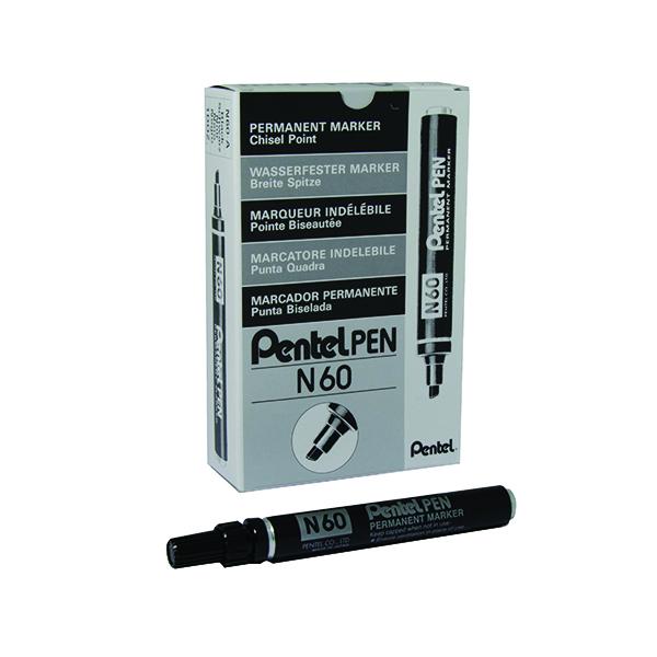 Pentel N60 Permanent Marker Chisel Tip Black (12 Pack) N60-A