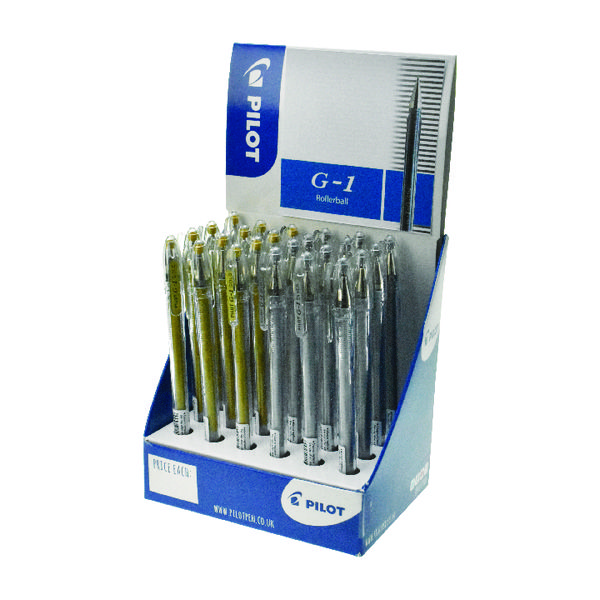 Unspecified Pilot G1 Gel Rollerball Display Gold and Silver (24 Pack) G1 CDU GLD/SLV