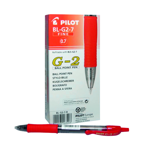 Red Pilot G207 Gel Ink Retractable Rollerball Pen Medium Red (12 Pack) G2 Red