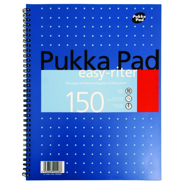 A4 Pukka Pad Ruled Metallic Wirebound Easy-Riter Notepad 150 Pages A4 (3 Pack) ERM009