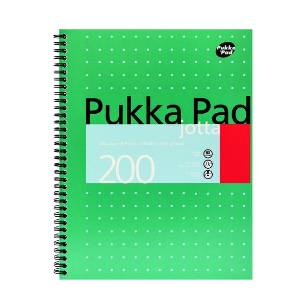 A4 Pukka Pad Ruled Wirebound Metallic Jotta Notebook 200 Pages A4 (3 Pack) JM018