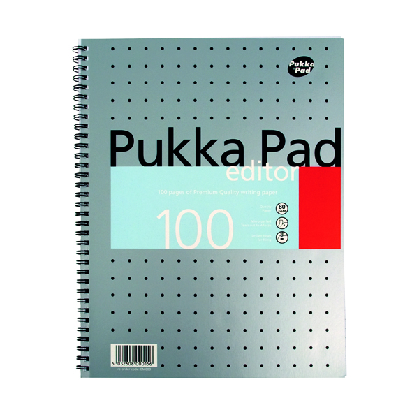 A4 Pukka Pad Ruled Metallic Wirebound Editor Notepad 100 Pages A4 (3 Pack) EM003