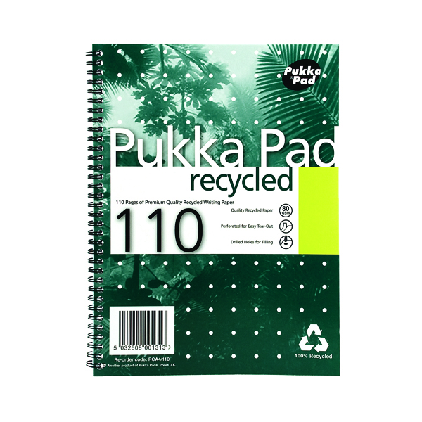 A4 Pukka Pad Recycled Ruled Wirebound Notebook 110 Pages A4 (3 Pack) RCA4100