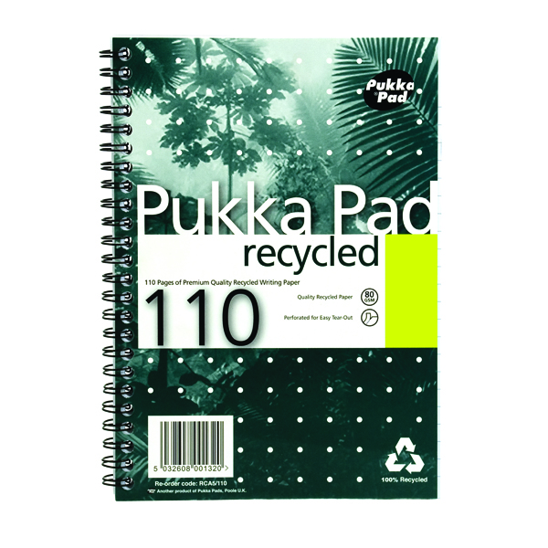 Pukka Pad Recycled Ruled Wirebound Notebook 110 Pages A5 (3 Pack) RCA5110