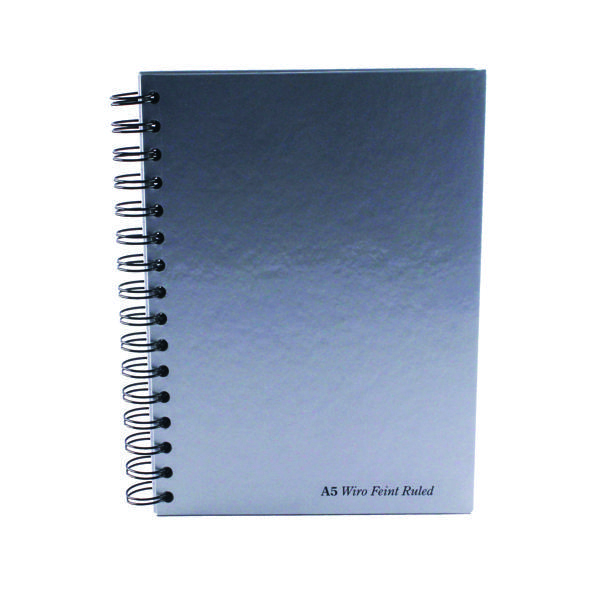 Pukka Pad Silver Ruled Wirebound Notebook 160 Pages A5 (5 Pack) WRULA5