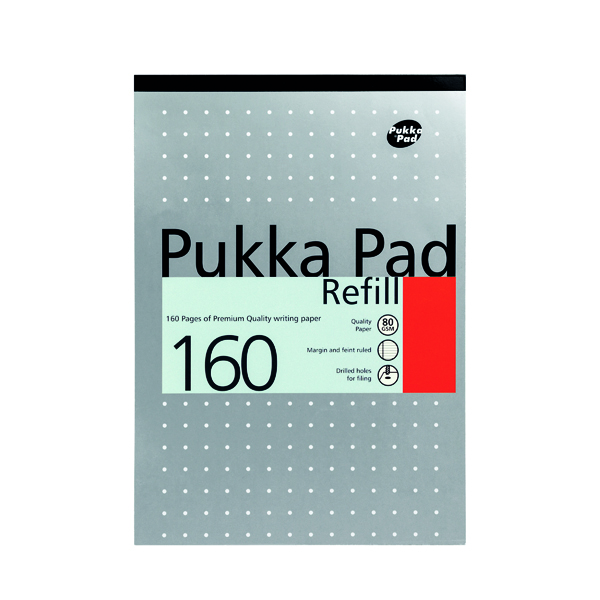 Pukka Pad Ruled Metallic Four-Hole Refill Pad Top Bound 160 Pages A4 (6 Pack) 80/1