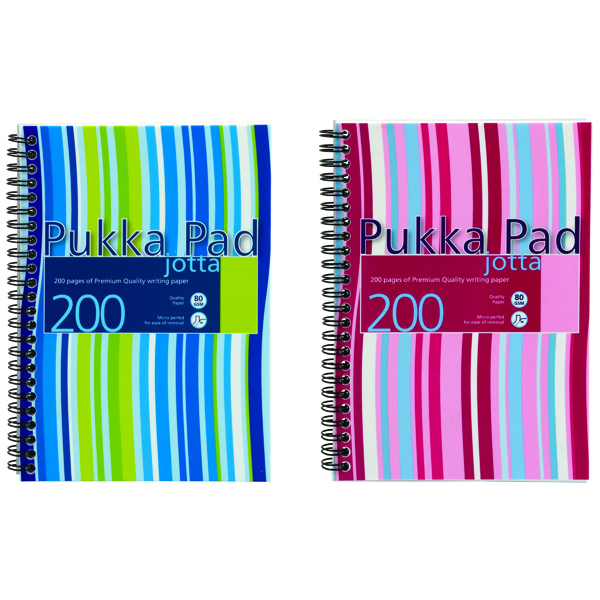 A5 Pukka Pad Stripes Polypropylene Wirebound Jotta Notebook 200 Pages A5 Blue/Pink (3 Pack) JP021