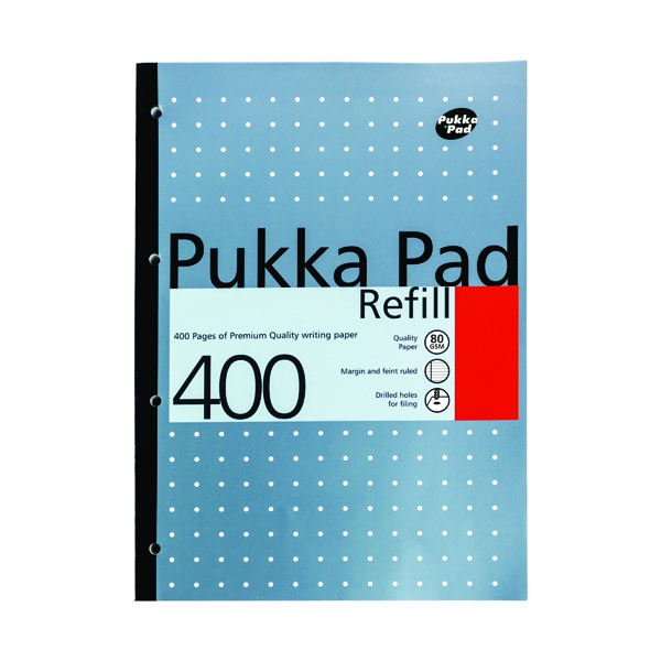 Ruled Pukka Pad Ruled Metallic Four-Hole Refill Pad Side Bound 400 Pages A4 (5 Pack) REF400