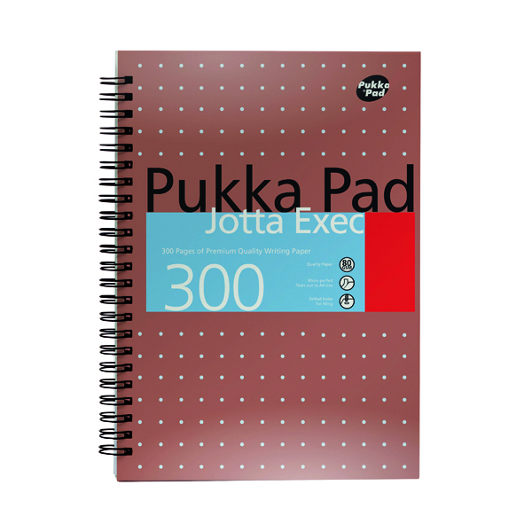 8x5in Pukka Pad Ruled Metallic Wirebound Executive Jotta Notepad 300 Pages A4+ (3 Pack) 7019-MeT