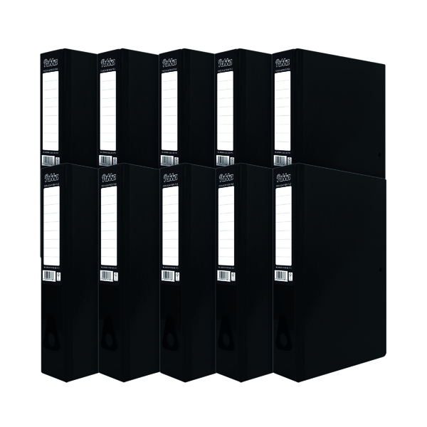 Foolscap (Legal) Size Pukka Brights Box File Foolscap Black (10 Pack) BR-7773