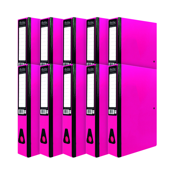 Foolscap (Legal) Size Pukka Brights Box File Foolscap Pink (10 Pack) BR-7780