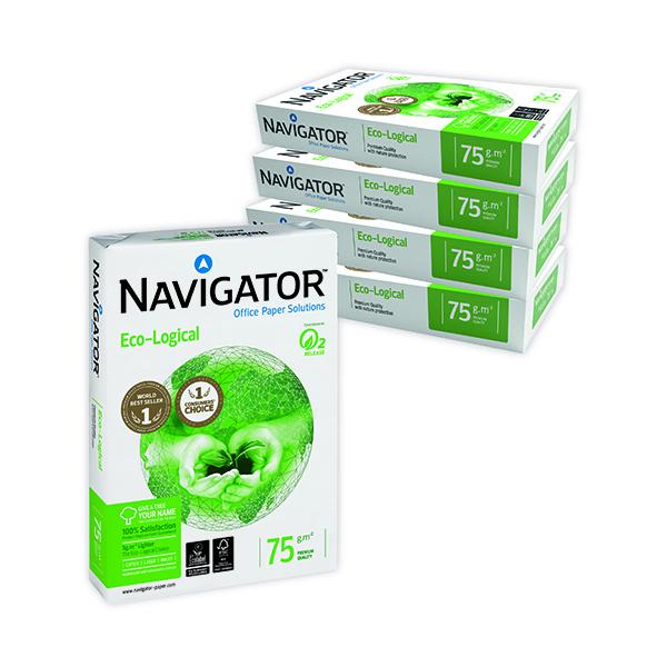 Less than 80gsm White/Colour Navigator Eco-Logical A4 Paper 75gm (2500 Pack) NAVA475