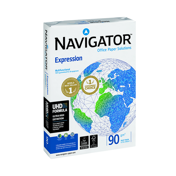 White 90gsm Navigator Expression A4 Paper 90gm (2500 Pack) NAVA490