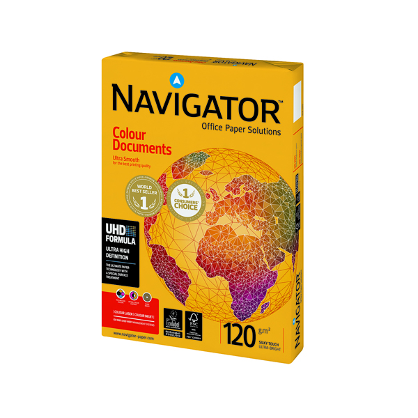 White 120gsm to 160gsm Navigator Colour Documents A4 Paper 120gsm (250 Pack) NAVA4120