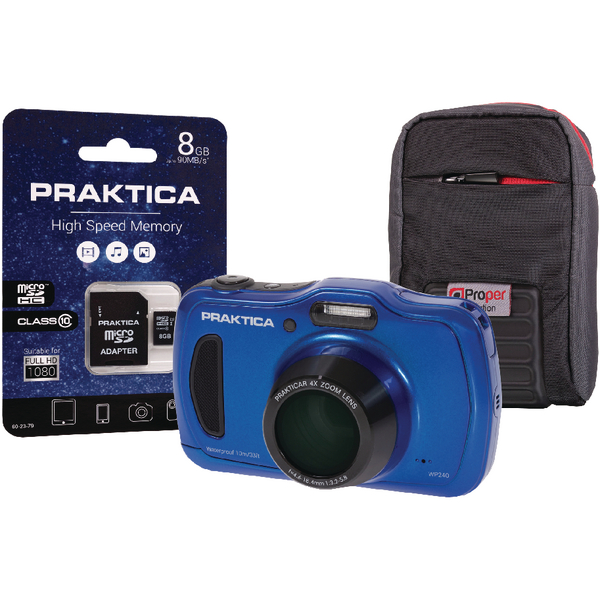 Praktica Luxmedia WP420 Waterproof 20mp Camera plus 8gb card and case