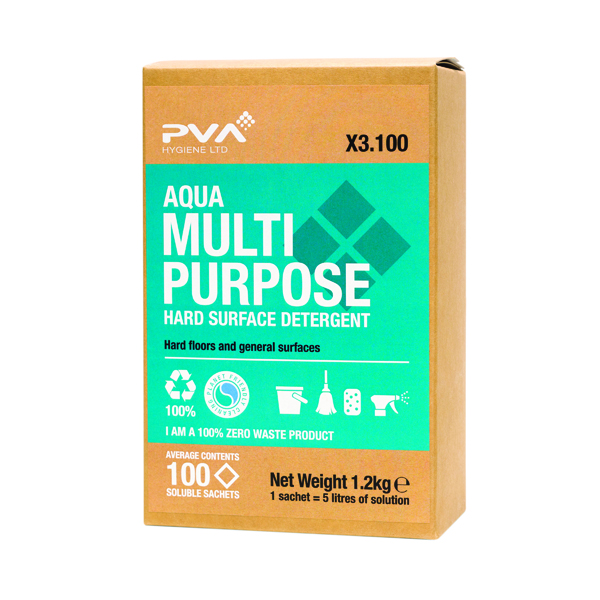 Cleaning Chemicals PVA Hard Surface Multipurpose Cleaner Sachets Aqua (100 Pack) PVAA3-100