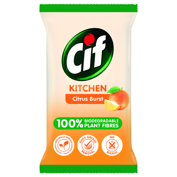 Cleaning Chemicals Cif Bio Kitchen Wipes Citrus Burst 80 Sheets (6 Pack) C001709