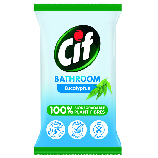 Cleaning Chemicals Cif Bio Bathroom Wipes Eucalyptus 80 Sheets (6 Pack) C001710