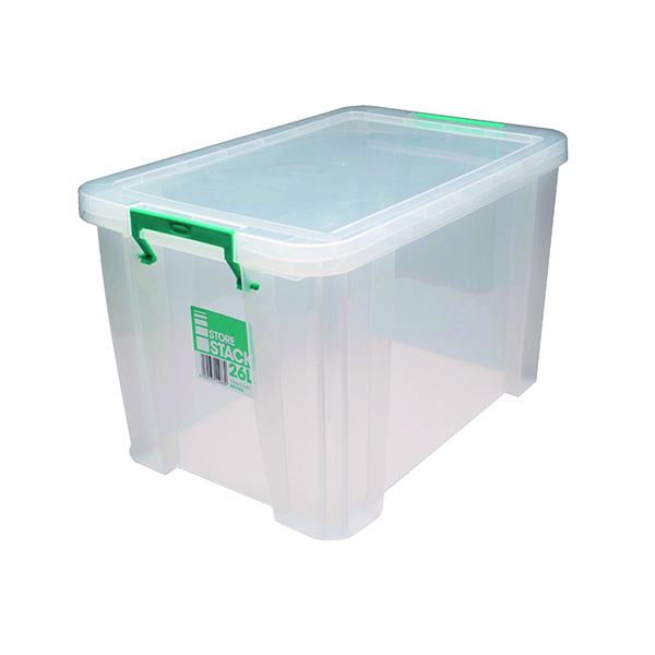 Boxes StoreStack 26 Litre Storage Box W470xD300xH290mm Clear RB11088