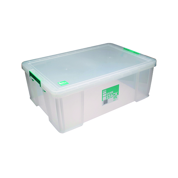 Boxes StoreStack 51 Litre Storage Box W660xD440xH230mm Clear RB11089
