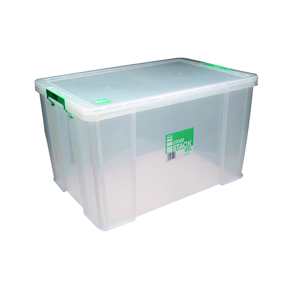 Boxes StoreStack 85 Litre Storage Box W660xD440xH390mm Clear RB11090