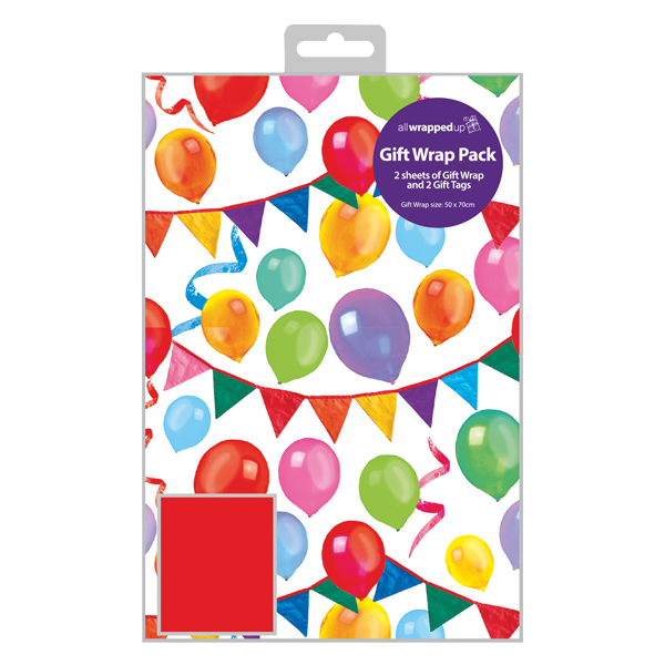 Paper Regent Balloon Gift Wrap and Tag (12 Pack) F356