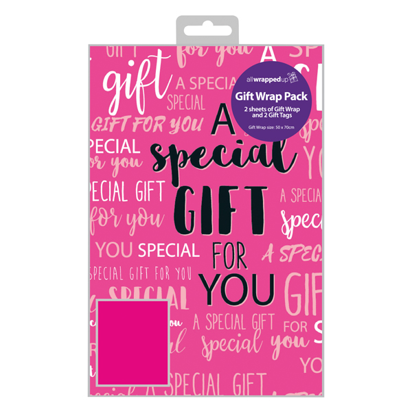 Paper Regent Special Gift Text Gift Wrap and Tag (12 Pack) F349