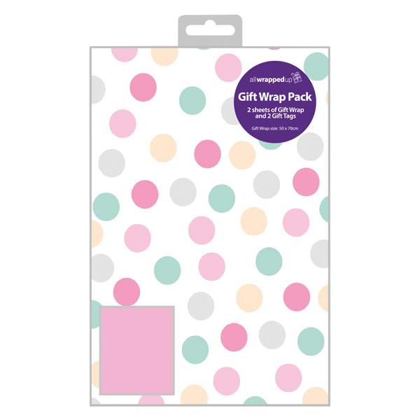Paper Regent Polka Dot Gift Wrap and Tag Pink (12 Pack) F607