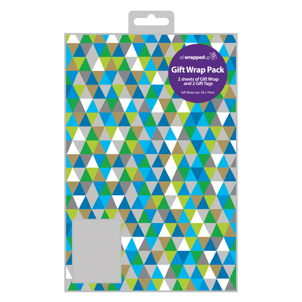 Paper Regent Triangles Gift Wrap and Tag (12 Pack) F402