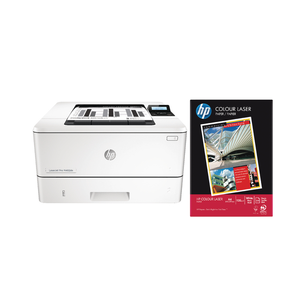 White 90gsm HP Starter Bundle Laserjet Pro M402DN Printer With HP Colour Laser A4 90gsm Paper White