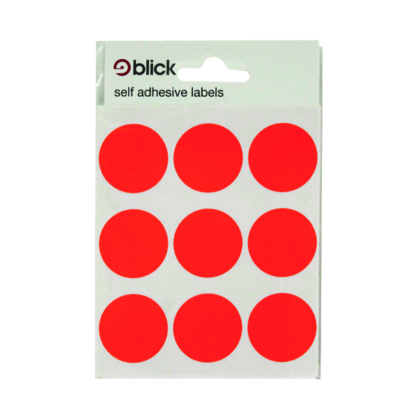 Blick Coloured Labels in Bags Round 29mm Dia 36 Per Bag Red (720 Pack) RS005155