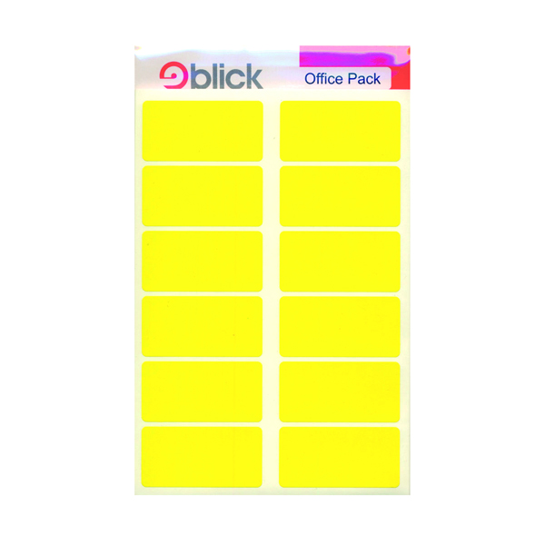 Flat Pack Blick Labels in Office Packs 25mmx50mm Yellow (320 Pack) RS020158