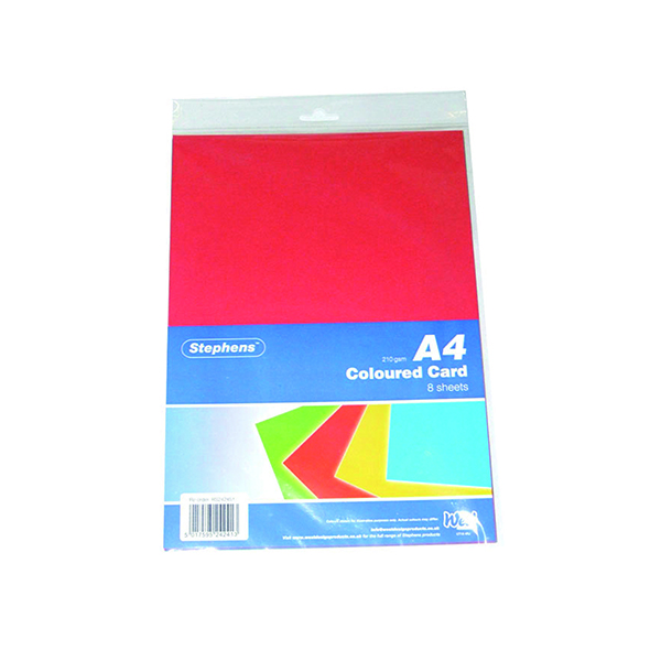Assorted Colours Stephens Assorted Coloured Card (80 Pack) RS242451