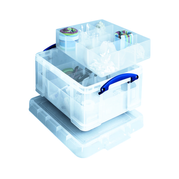 Storage Boxes Really Useful Clear 21 Litre Plastic Divided Storage Box 21C+6T+12T