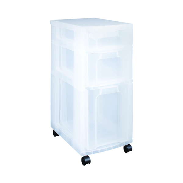 Boxes Really Useful Plastic Storage Tower 3 Drawers Clear 7L/12L/25L DT1019