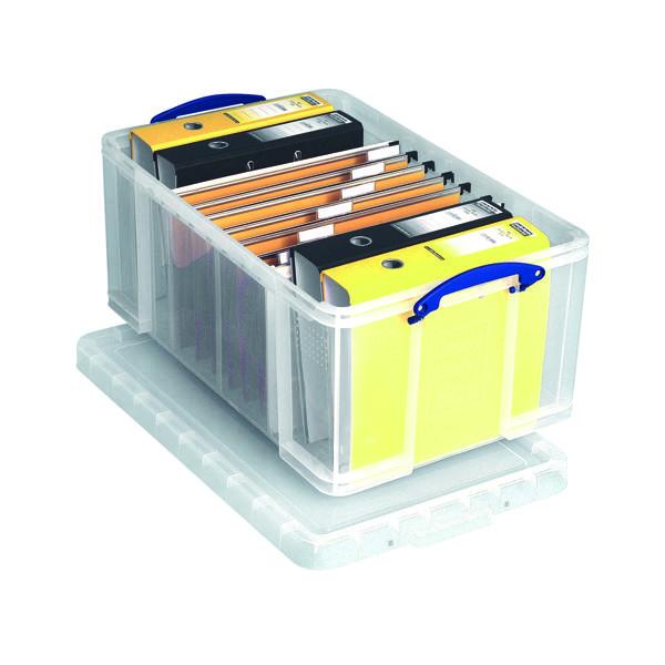 Storage Boxes Really Useful 64L Plastic Storage Box W710xD440xH310mm Clear 64C