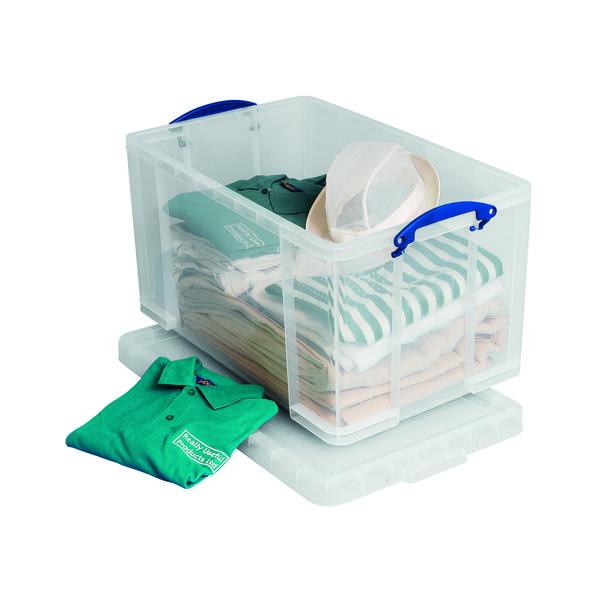 Storage Boxes Really Useful 84L Plastic Storage Box W710xD440xH380mm Clear 84LC