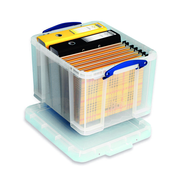 Storage Boxes Really Useful 35L Plastic Storage Box With Lid W480xD390xH310mm Clear 35C