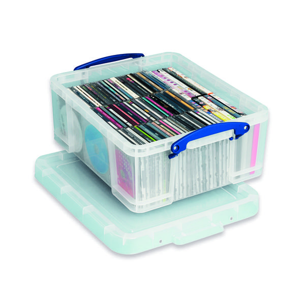 Storage Boxes Really Useful 18L Plastic Storage Box With Lid W480xD390xH200mm CD/DVDs Clear EBCCD