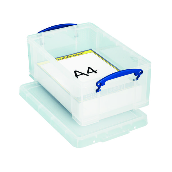 Storage Boxes Really Useful 9L Plastic Storage Box With Lid 395x255x155mm Clear 9C