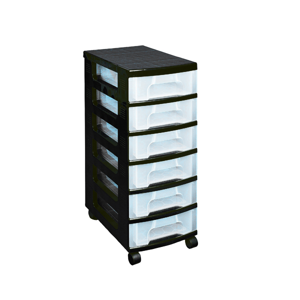 Storage Boxes Really Useful Plastic Storage Tower With 6 Drawers Black ST6X7C