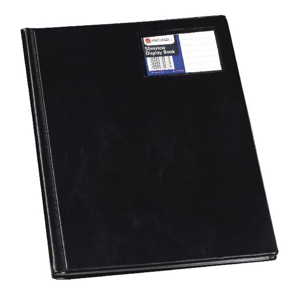 11-20 Pockets Rexel Nyrex Slimview Display Book 12 Pocket A4 Black 10005BK