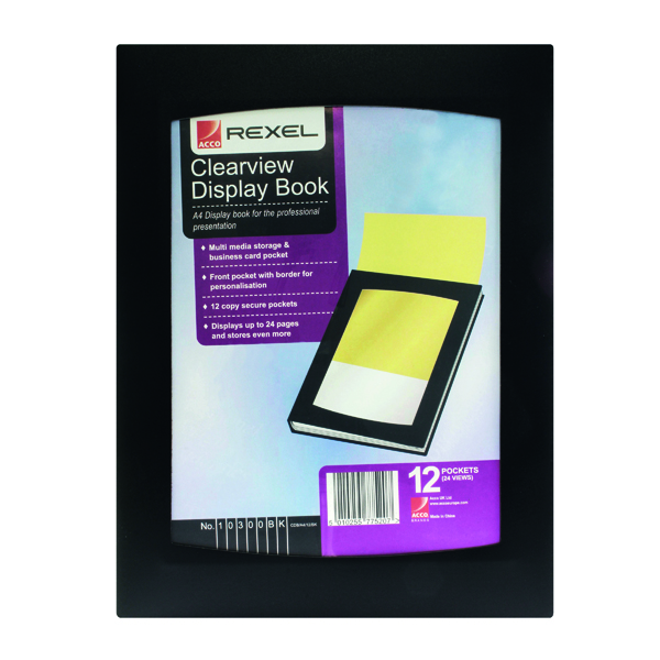 Rexel Clearview Display Book 12 Pocket A4 Black 10300BK