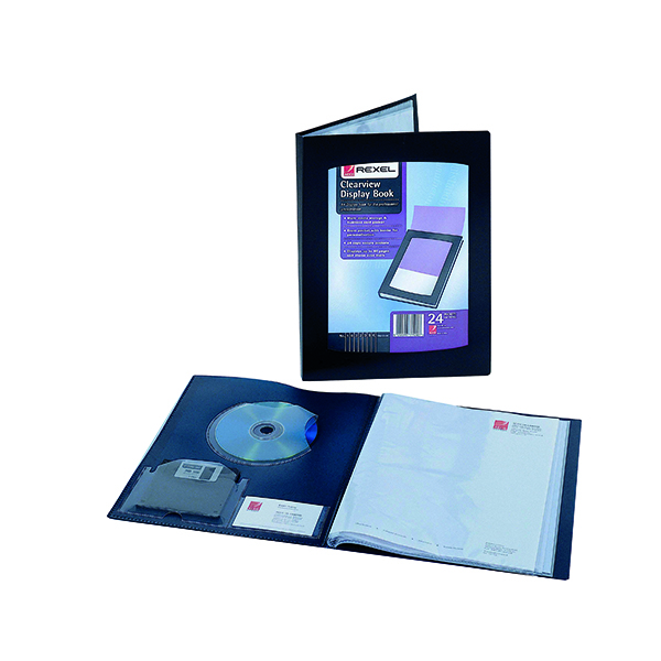 21-30 Pockets Rexel Clearview Display Book 24 Pocket A3 Black 10405BK