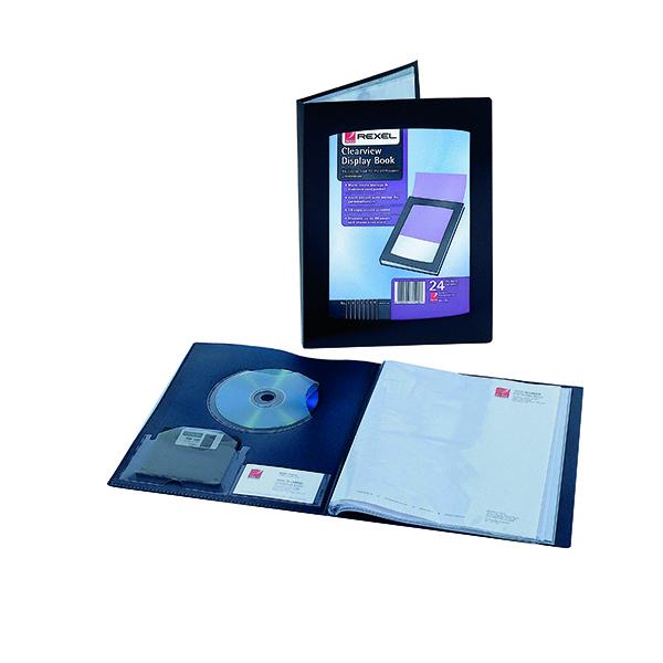 21-30 Pockets Rexel Clearview Display Book 24 Pocket A5 Black 10410BK