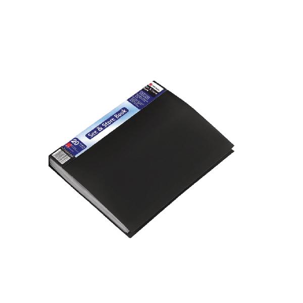 11-20 Pockets Rexel See and Store Display Book 20 Pocket A4 Black 10555BK
